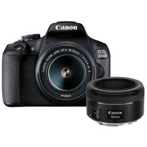 Foto principale Kit Fotocamera Reflex Canon EOS 2000D + Obiettivo 18-55mm IS + Obiettivo 50mm 1.8S – Prodotto in Italiano
